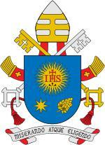 """IHS"" on the coat of arms of Pope Francis.   Notice that the sun has 32 rays."