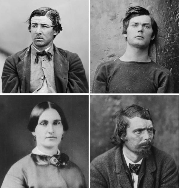 The four condemned conspirators of Abraham Lincoln: David Herold, Lewis Powell, Mary Surratt and George Atzerodt (from left to right).