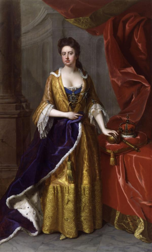 Queen Anne was the sister of Mary II and was married to Prince George of Denmark. She was a committed Protestant and supported the Glorious Revolution that deposed her father and replaced him with her sister and brother-in-law. She was the last monarch of the Stuarts.