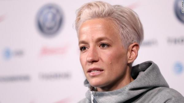 Picture of Rapinoe, star of the USA women's soccer team.  Rapinoe is a lesbian.