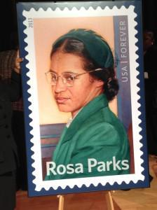 Postage stamp of Rosa Parks.