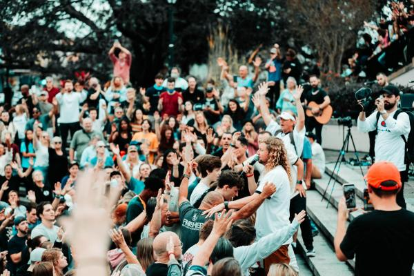 Sean Feucht at one his rock and roll worship meetings. Is God always moving in the midst of the rock & roll music services that they provide? Has entertainment replaced worship?