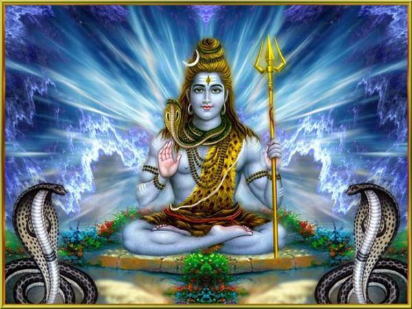 Hindu god Shiva and serpents