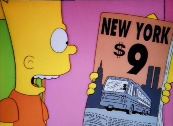 A cartoon showing an advertisement for traveling to New York that says:  $9 with a picture of the two towers right behind the nine; 911.