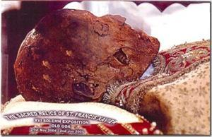 The skull of Francis Xavier, who wrote to the King of Portugal and proposed a tribunal of the Inquisition to be set up in Goa