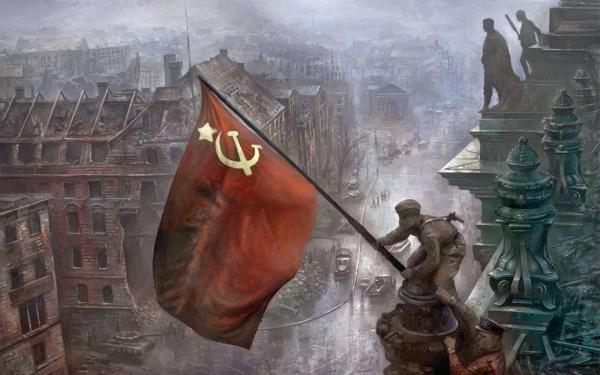 German forces in Berlin surrendered the city to the Soviet troops on May 2, 1945. The Soviet flag was placed on the roof of the Reichstag.