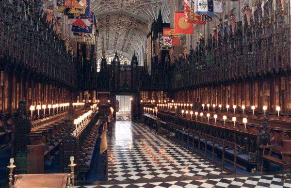 St. George's Chapel of Windsor Castle, west of London with its white and black checker-board floor.