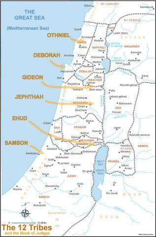 Map showing the region where the judges that God raised up delivered the Israelites.