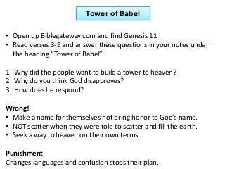 Questions and answers regarding why the Tower of Babel was built