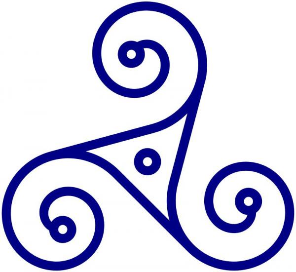A triskelion or triskele is a motif consisting of a triple spiral exhibiting rotational symmetry. The spiral design can be based on interlocking Archimedean spirals, or represent three bent legs.
