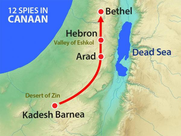 Location of Israel when they dispersed the 12 spies into the land of Canaan.