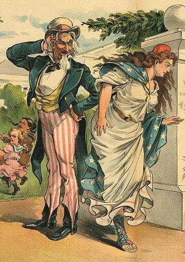 Uncle Sam with his sister, Miss Columbia