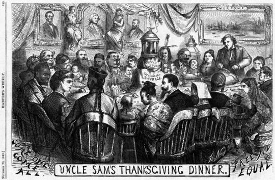 An 1869 Thomas Nast cartoon, Columbia is pictured sitting at a dinner table with individuals from all cultures and walks of life.