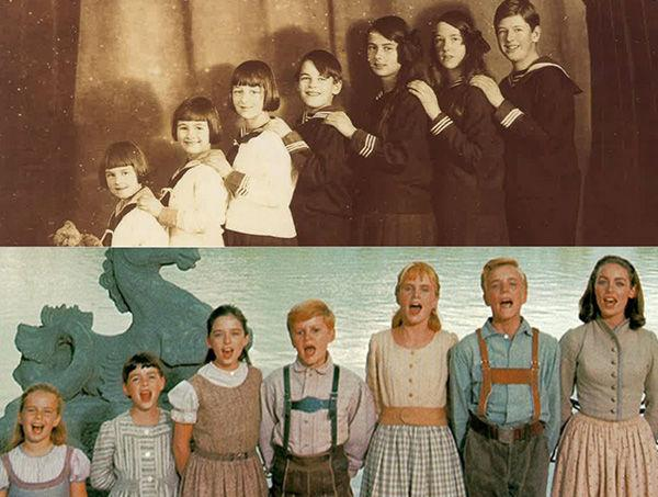 The top photo shows the first seven of the von Trapp children.  The bottom photo shows the cast of Sound of Music.