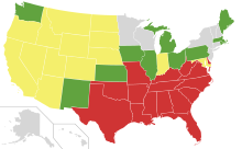 This map shows the general repeal of anti-miscegination laws:   Grey states never had any anti-miscegination laws.   Green states:  Anti-miscegination law repealed before 1887.  Yellow states:  Anti-miscegination law repealed between 1948 to 1967.  Red states:  Anti-miscegination law repealed after June 1967.