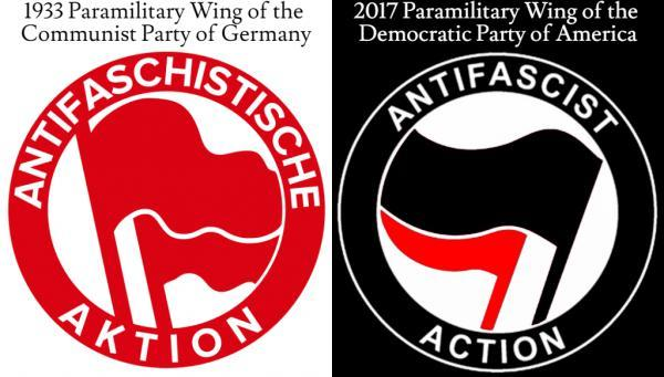 The 2017 ANTIFA logo is almost identical to the logo of the Communist Party during the Wiemar Republic prior to Hitler being elected in 1933.