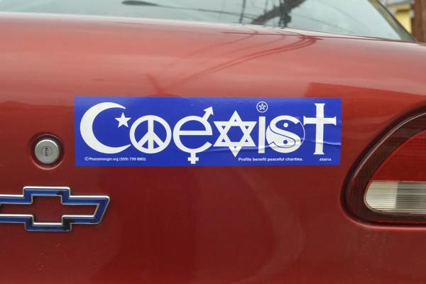 Coexist bumper sticker