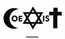 Piotr Mlodozeniec originally designed the first Coexist logo for an Israeli art contest in the year 2000. 1. The 'C' is a symbol for Islam. 2. The 'O' is a symbol for Pacifism. 3. The 'E' is a symbol for gay rights/gender equality. 4. The 'X' is a symbol for Judaism. 5. The 'I' is a symbol for Paganism. 6. The 'S' is a symbol for Taoism. 7. The 'T' is a symbol for Christianity.