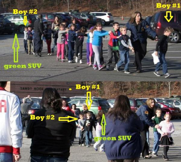 "Compare these two photographs.  The second photograph, taken at practically the same time, shows a group of parents casually looking on with their arms crossed as the officer rearranges the kids to get ""a better shot"".  Is there anyone who believes that these pictures were taken in a mass-murder emergency situation?"