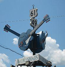 "The legendary ""Crossroads"" monument at Clarksdale, Mississippi"