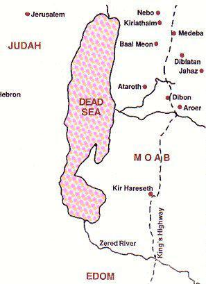 Map of Israel's journey along Kings Highway