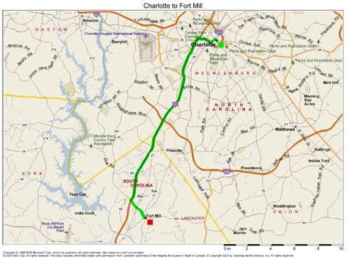 Map showing route between Charlotte, NC to Fort Mill, SC.