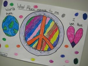 Peace poster created by 5th grade students.