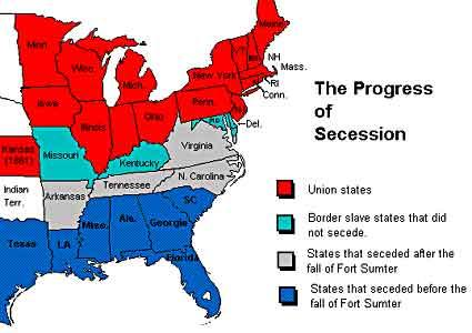 This map shows the states that seceded from the Union before the fall of Fort Sumter, South Carolina, those that seceded afterwards, the slave states that did not secede, and the Union states.