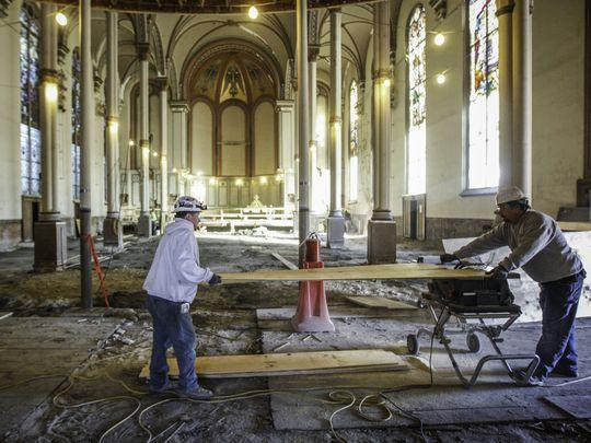 Renovations are underway at the Old St. George Church on McMillian Street in Corryville, where Crossroads will use for the UC campus location.