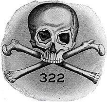 Emblem of Slull and Bones.  Skull and Bones was formed in 1832 and is an undergraduate senior secret society at Yale University.